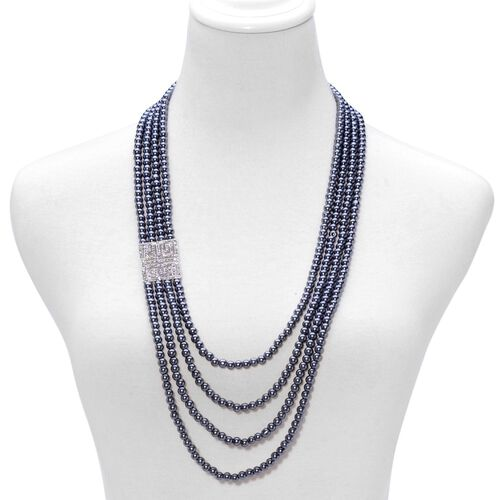 AAA White Austrian Crystal and Peacock Glass Pearl Necklace (Size 27 with 1 inch Extender) and Stretchable Bracelet (Size 7.5) in Silver Tone