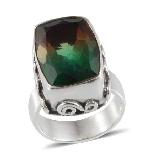 Rainbow Genesis Quartz (Cush) Solitaire Ring in Sterling Silver 12.220 Ct.
