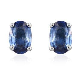 RHAPSODY 950 Platinum 1.50 Carat Rare AAAA Ceylon Blue Sapphire Oval Stud Earrings (with Screw Back)