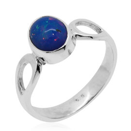 Royal Bali Collection Blue Ethiopian Opal (Ovl) Solitaire Ring in Sterling Silver 1.330 Ct.