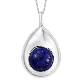 Lapis Lazuli (Rnd) Solitaire Pendant With Chain in Platinum Overlay Sterling Silver 4.250 Ct.
