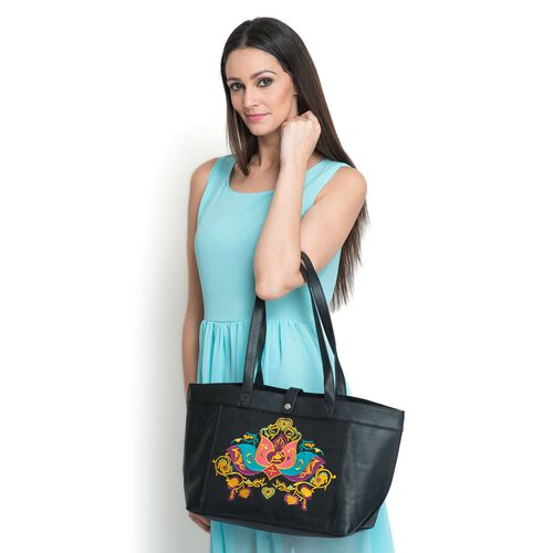 Melanney Genuine Leather Lotus Embroidered Black Colour Tote Bag (SIze 47 X 26 CM)