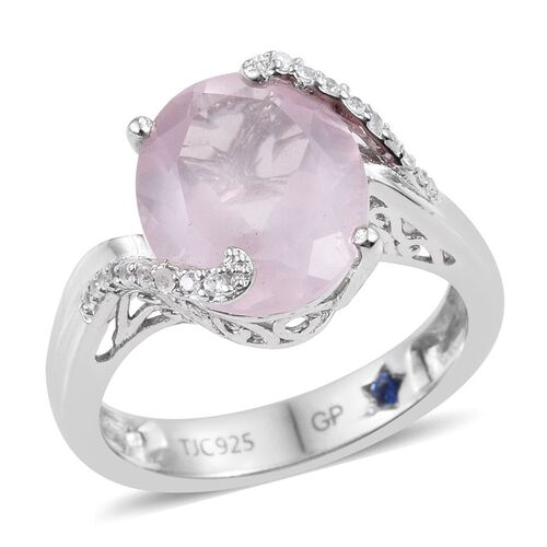 GP Rose Quartz (Ovl 4.10 Ct), Natural Cambodian Zircon and Kanchanaburi Blue Sapphire Ring in Platinum Overlay Sterling Silver 4.250 Ct.