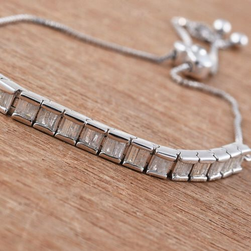 GP Diamond Dream Collection, Kanchanaburi Blue Sapphire Adjustable Bracelet (Size 6.5 to 8) in Platinum Overlay Sterling Silver 1.020 Ct.