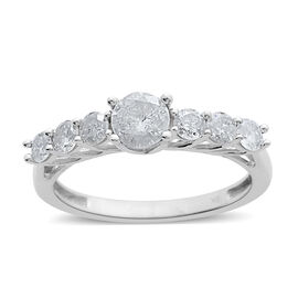 9K White Gold SGL Certified 1 Carat Diamond (I3/ G-H) 7 Stone Ring.