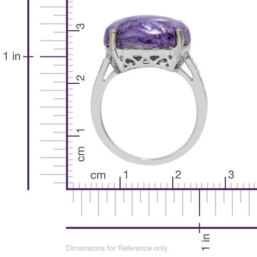 Russian Charoite (Ovl 7.25 Ct) Diamond Ring in Platinum Overlay Sterling Silver  7.300 Ct.