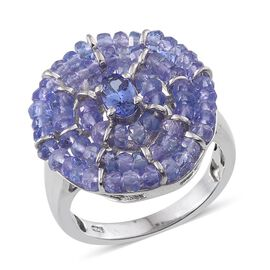 Tanzanite (Rnd) Cluster Ring in Platinum Overlay Sterling Silver 7.400 Ct.