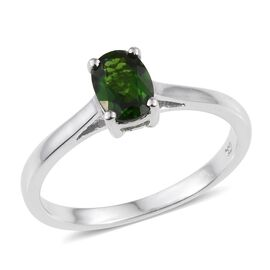 Russian Diopside (Ovl) Solitaire Ring in Platinum Overlay Sterling Silver 0.900 Ct.