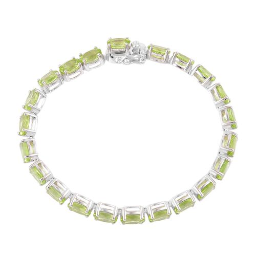 Hebei Peridot (Ovl) Bracelet (Size 7) in Platinum Overlay Sterling Silver 20.500 Ct. Silver wt 8.89 Gms.