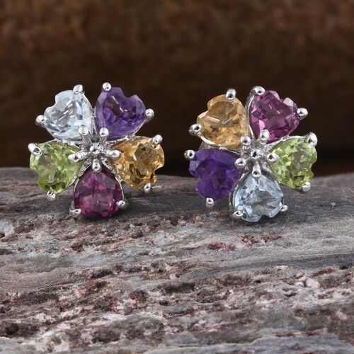 Hebei Peridot (Hrt), Amethyst, Citrine, Rhodolite Garnet and Sky Blue Topaz Floral Stud Earrings (with Push Back) in Platinum Overlay Sterling Silver 2.145 Ct.