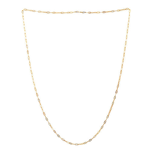 14K Gold Overlay Sterling Silver Oval Link Chain (Size 24), Silver wt 3.50 Gms.