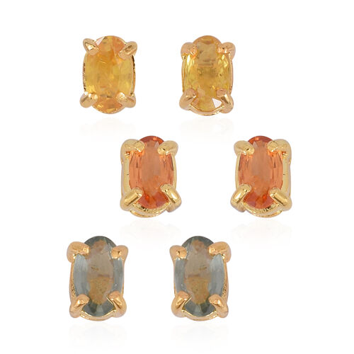 Set of 3 - Chanthaburi Yellow Sapphire (Ovl), Songea Green Sapphire and Madagascar Orange Sapphire Stud Earrings (with Push Back) in 14K Gold Overlay Sterling Silver 2.000 Ct.