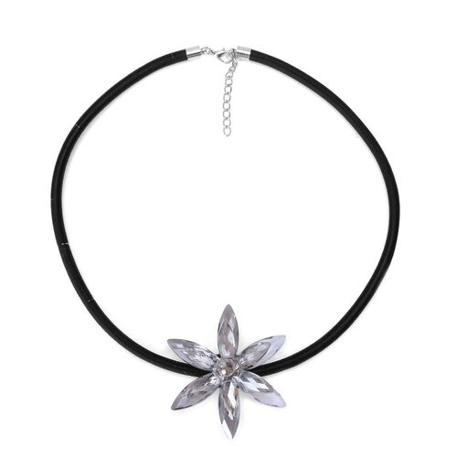 (Option 1) Grey Glass Floral Necklace (Size 18 with 2 inch Extender) in Silver Tone 25.000 Ct.