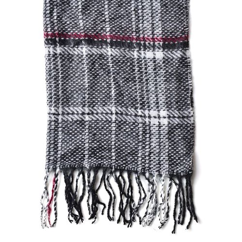 Black, White and Multi Colour Checks Pattern Scarf with Tassels (Size 180X60 Cm)