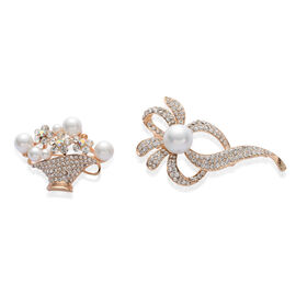 Set of 2 - White Glass Pearl and White Austrian Crystal Brooch in Gold Tone