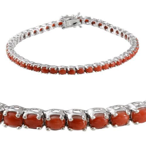 Natural Mediterranean Coral (Ovl) Bracelet in Platinum Overlay Sterling Silver (Size 8) 6.500 Ct.