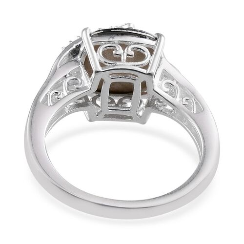 Crystal from Swarovski - Metallic Light Gold Crystal (Cush) Solitaire Ring in Sterling Silver
