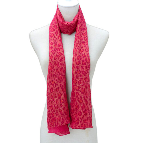Leopard Pattern Rose Red Colour Scarf (Size 160x70 Cm)