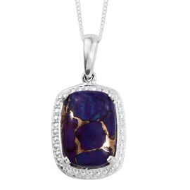 Purple Turquoise (Cush) Solitaire Pendant With Chain in Sterling Silver 6.750 Ct.