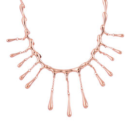 LucyQ Short Multi Drip Necklace (Size 16 with 4 inch Extender) in Rose Gold Overlay Sterling Silver 43.50 Gms.