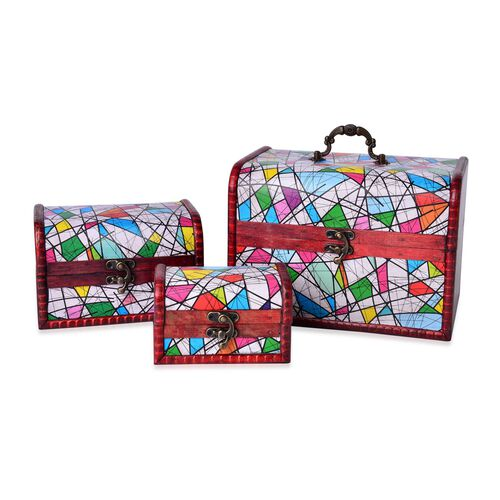 Set of 3 - Handcrafted White and Multi Colour Geometric Pattern Vintage Style Jewellery Box (Small 12X7.5X7.5 Cm), (Medium 16X11X10.5 Cm) and (Large 22X16X15.5 Cm)