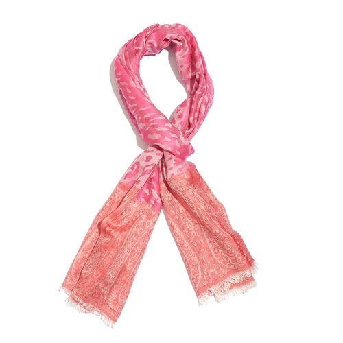 Leopard and Paisley Pattern Pink and Red Colour Reversible Scarf (Size 190x70 Cm)