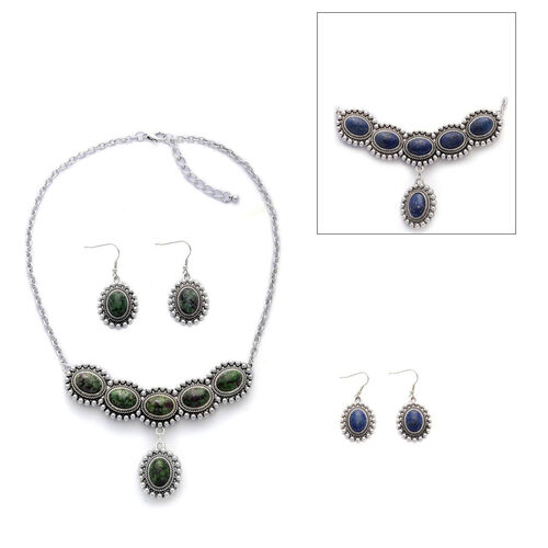 Designer Inspired Lapis Lazuli, Ruby Zoisite Reversible Necklace (Size 20) and Matching Hook Earrings