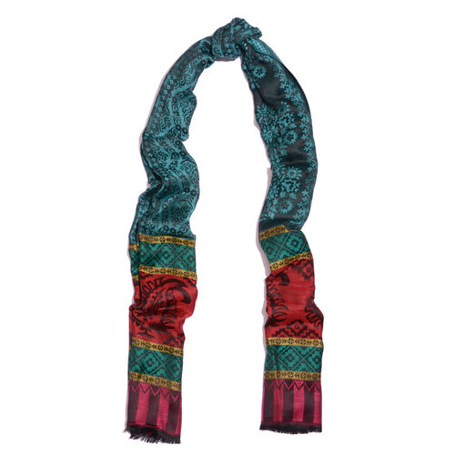 100% Modal Green, Black and Multi Colour Jacquard Scarf (Size 190x70 Cm)