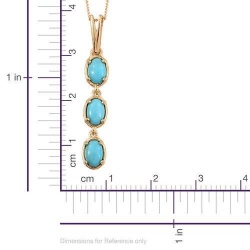 Arizona Sleeping Beauty Turquoise (Ovl) Trilogy Pendant with Chain in 14K Gold Overlay Sterling Silver 1.250 Ct.