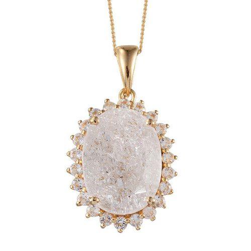 White Crackled Quartz (Ovl 10.00 Ct), White Topaz Pendant With Chain in 14K Gold Overlay Sterling Silver 10.750 Ct.