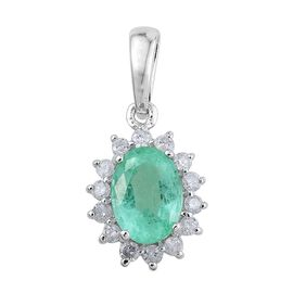9K White Gold 1 Carat Boyoca Colombian Emerald Oval Halo Pendant with Diamond.