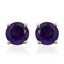2.25 Carat Amethyst Round Solitaire Stud Earrings in Platinum Overlay Sterling Silver