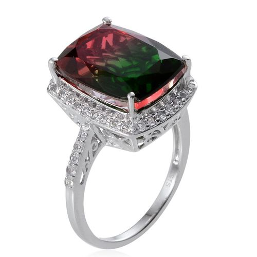 Tourmaline Colour Quartz (Cush 11.50 Ct), White Topaz Ring in Platinum Overlay Sterling Silver 12.250 Ct.