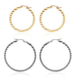 Set of 2 - Close Out Deal Yellow Gold Overlay and Stainless Steel Hoop Earrings