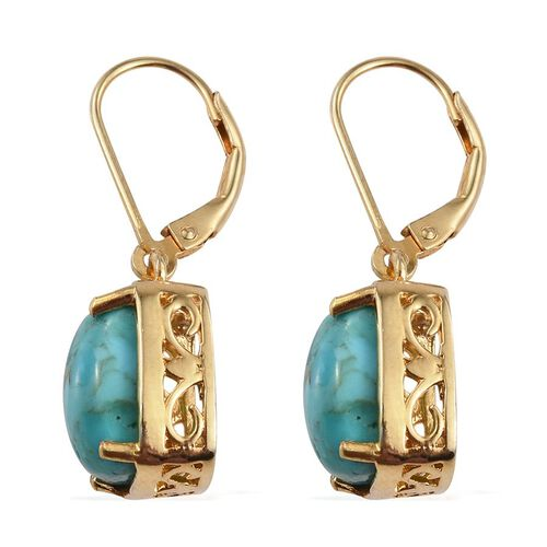 Arizona Matrix Turquoise (Cush) Lever Back Earrings in 14K Gold Overlay Sterling Silver 6.500 Ct.