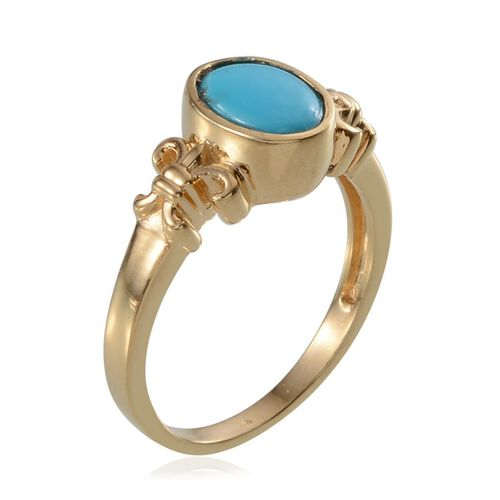 Arizona Sleeping Beauty Turquoise (Ovl) Solitaire Ring in 14K Gold Overlay Sterling Silver 1.000 Ct.