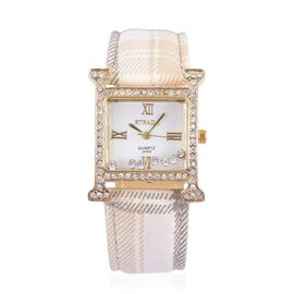 STRADA Japanese Movement White Dial with White Austrian Crystal Water Resistant Watch in Gold Tone with Stainless Steel Back and White Strap
