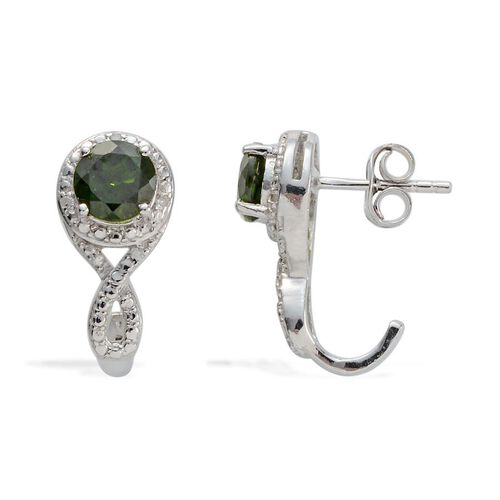 Russian Diopside (Rnd), Diamond J Hoop Earrings (with Push Back) in Platinum Overlay Sterling Silver 1.700 Ct.