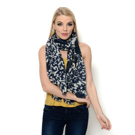 Wool (50% Cotton and 50% Wool) and Dark and Light Blue Colour Woven Flower and Leaf Pattern Scarf (Size 175x75 Cm)