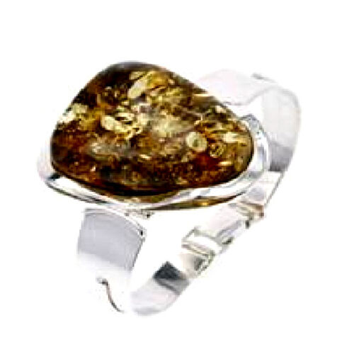 Last One- Mayan Green Amber Bangle in Sterling Silver 112.000 Ct.