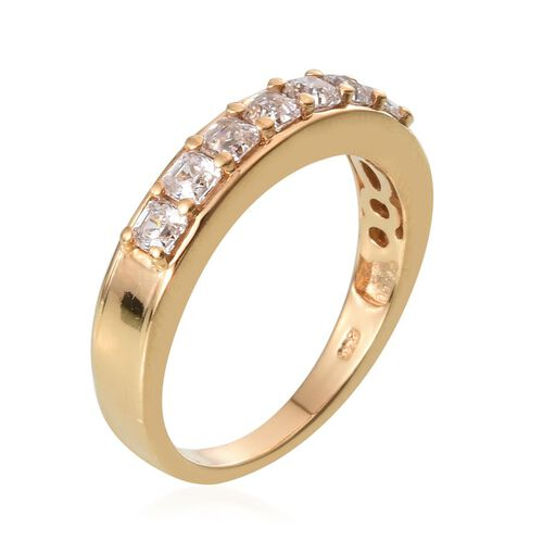 J Francis - 14K Gold Overlay Sterling Silver (Asscher Cut) Half Eternity Ring Made with SWAROVSKI ZIRCONIA 1.750 Ct.