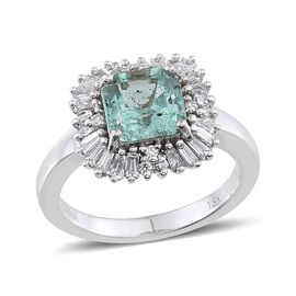 ILIANA 18K W Gold Boyaca Colombian Emerald (Oct 1.65 Ct), Diamond Ring 2.150 Ct.