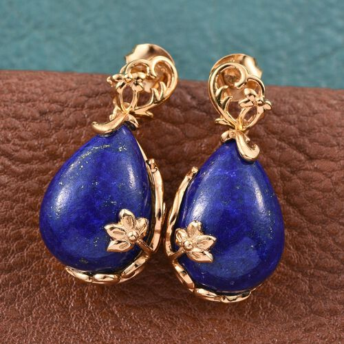 Stefy Lapis Lazuli (Pear), Pink Sapphire Earrings (with Push Back) in 14K Gold Overlay Sterling Silver 22.050 Ct.