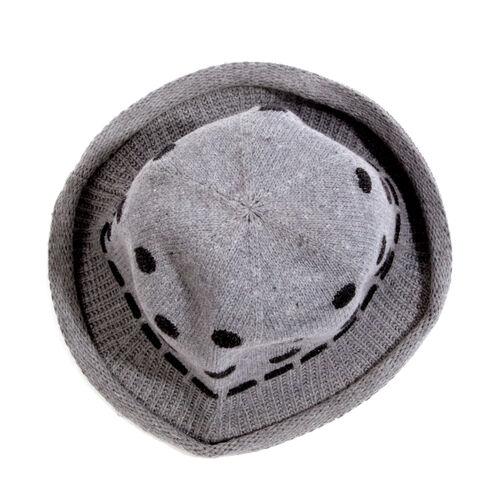 Polka Dot Pattern Hat- Light Grey and Black (Size 28x13 Cm)