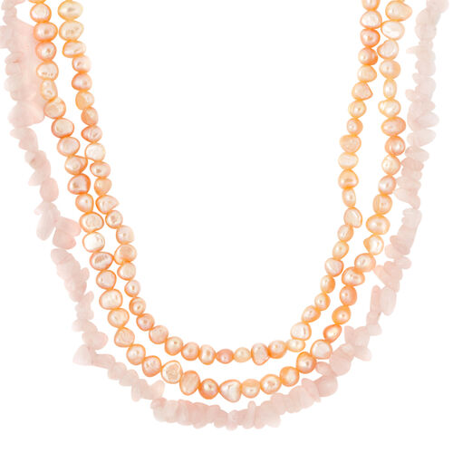 Rose Quartz and Fresh Water Peach Pearl Necklace (Size 18) in Silver Tone
