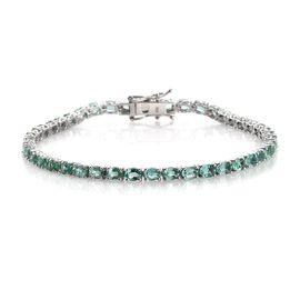 9K White Gold 7 Carat Boyaca Colombian Emerald Tennis Bracelet Size 7.5.