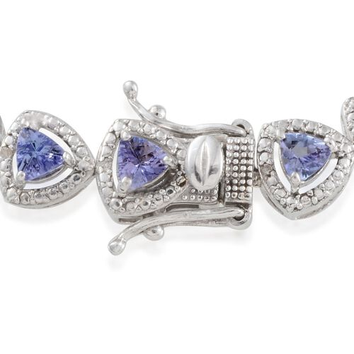 AA Tanzanite (Trl), Diamond Bracelet (Size 7) in Platinum Overlay Sterling Silver 6.400 Ct.