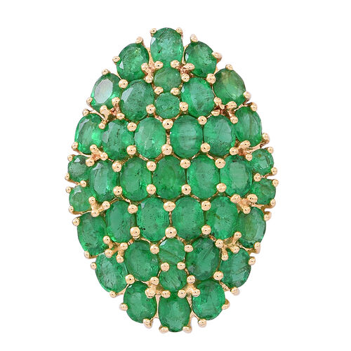 Limited Edition- 9K Y Gold AAAA Kagem Zambian Emerald (Ovl) Cluster Pendant 5.500 Ct.