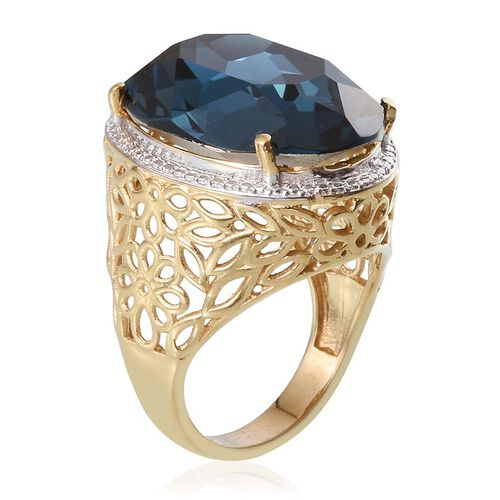 J Francis Crystal from Swarovski - Montana Crystal (Ovl) Ring in ION Plated 18K Yellow Gold Bond 26.500 Ct.