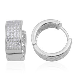 Vicenza Collection ELANZA AAA Simulated Diamond (Rnd) Hoop Earrings (with Clasp) in Rhodium Plated Sterling Silver